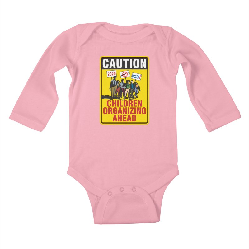 Caution - Children Organizing Kids Baby Longsleeve Bodysuit by Puttyhead's Artist Shop