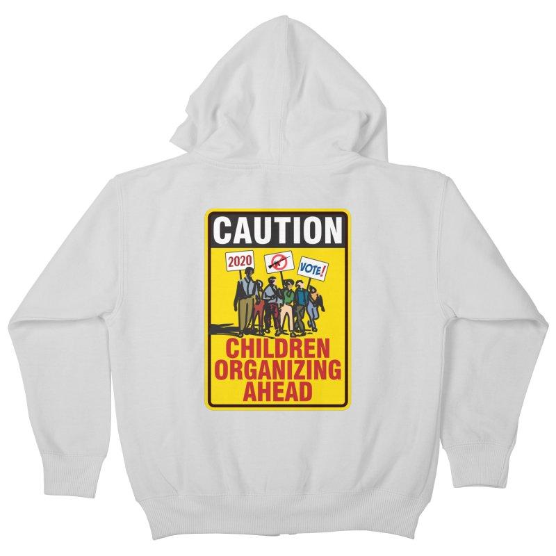 Caution - Children Organizing Kids Zip-Up Hoody by Puttyhead's Artist Shop