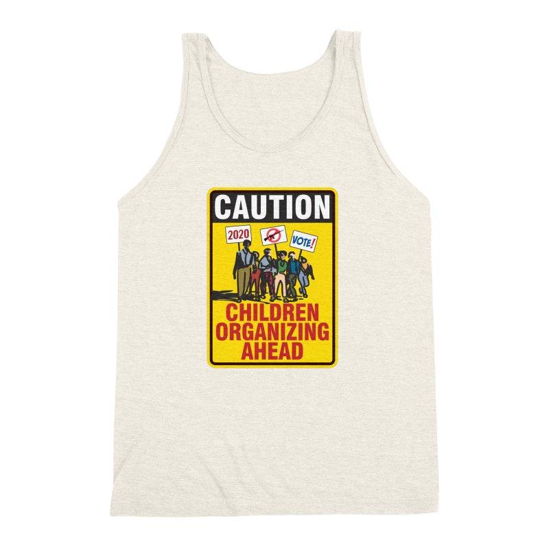 Caution - Children Organizing Men's Triblend Tank by Puttyhead's Artist Shop