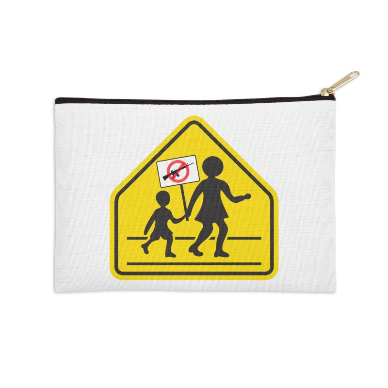 Children Crossing against Guns Accessories Zip Pouch by Puttyhead's Artist Shop