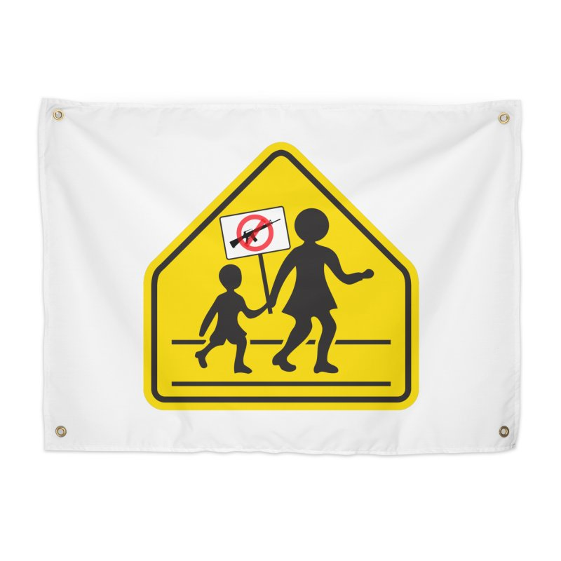 Children Crossing against Guns Home Tapestry by Puttyhead's Artist Shop