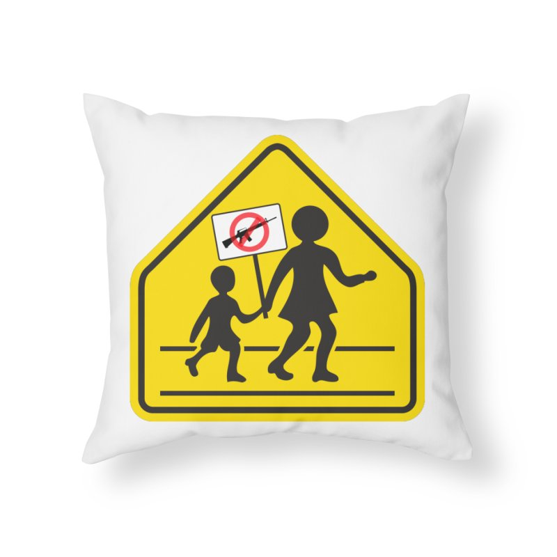 Children Crossing against Guns Home Throw Pillow by Puttyhead's Artist Shop