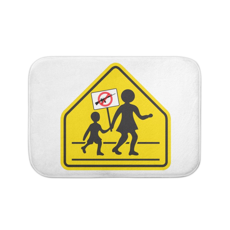 Children Crossing against Guns Home Bath Mat by Puttyhead's Artist Shop