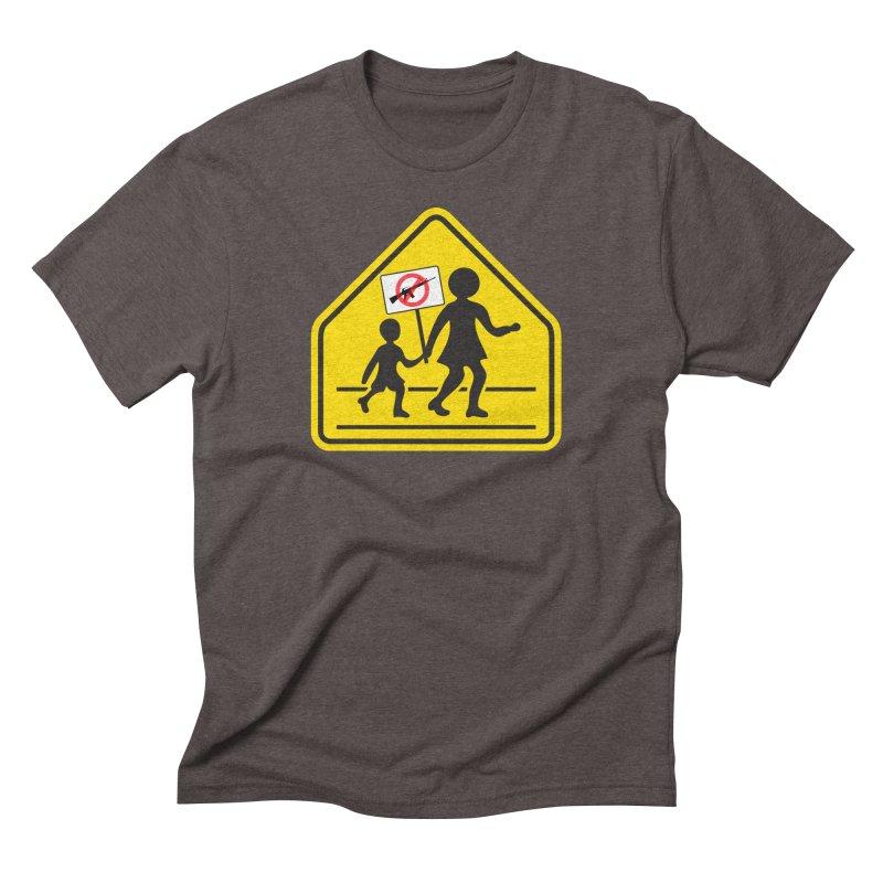 Children Crossing against Guns Men's Triblend T-Shirt by Puttyhead's Artist Shop