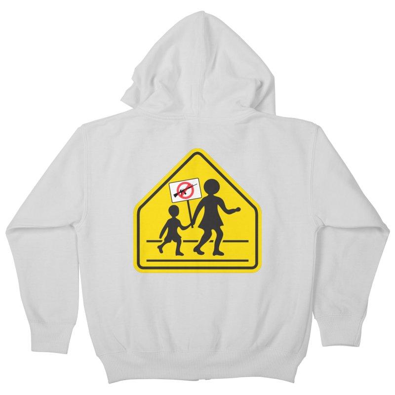 Children Crossing against Guns Kids Zip-Up Hoody by Puttyhead's Artist Shop