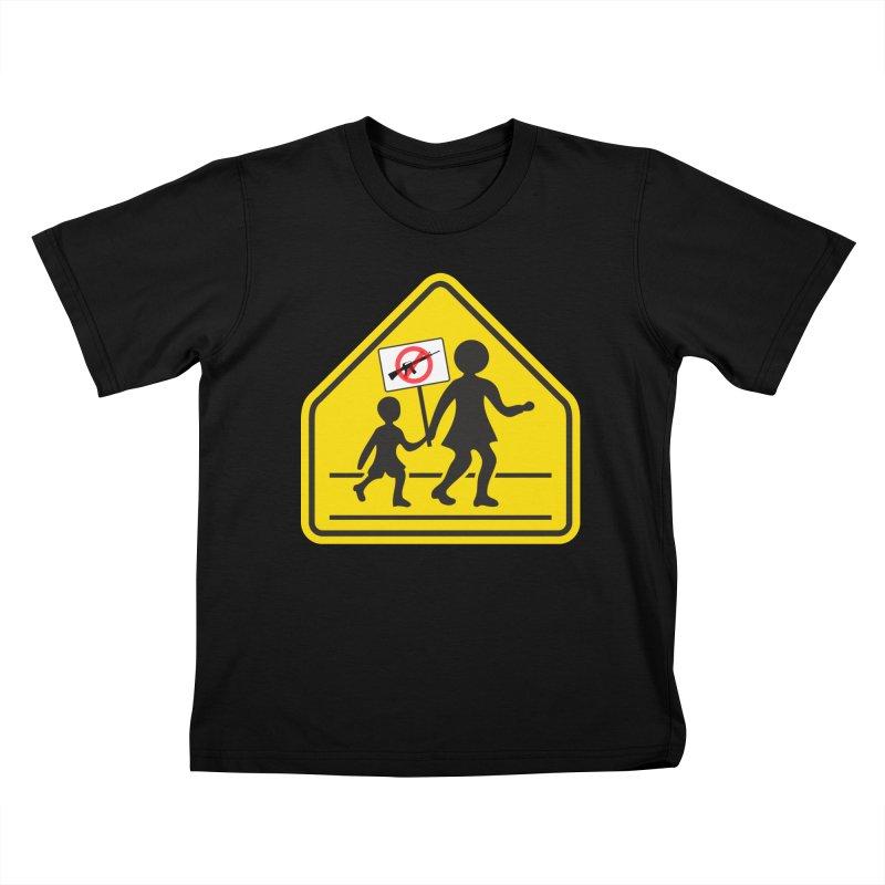 Children Crossing against Guns Kids T-Shirt by Puttyhead's Artist Shop
