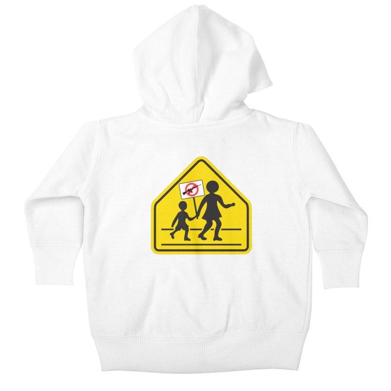 Children Crossing against Guns Kids Baby Zip-Up Hoody by Puttyhead's Artist Shop