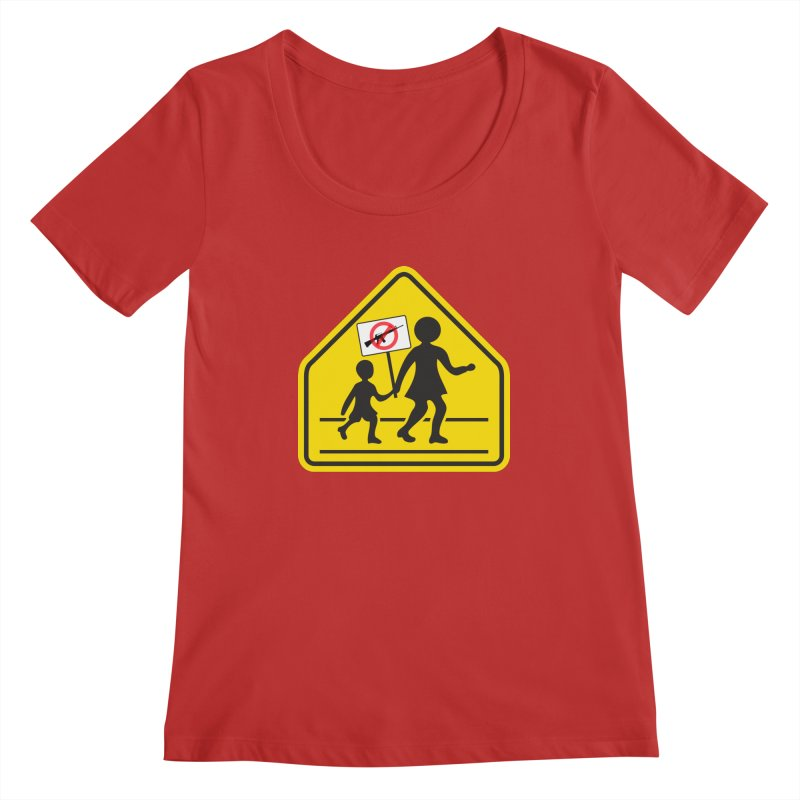 Children Crossing against Guns Women's Scoopneck by Puttyhead's Artist Shop
