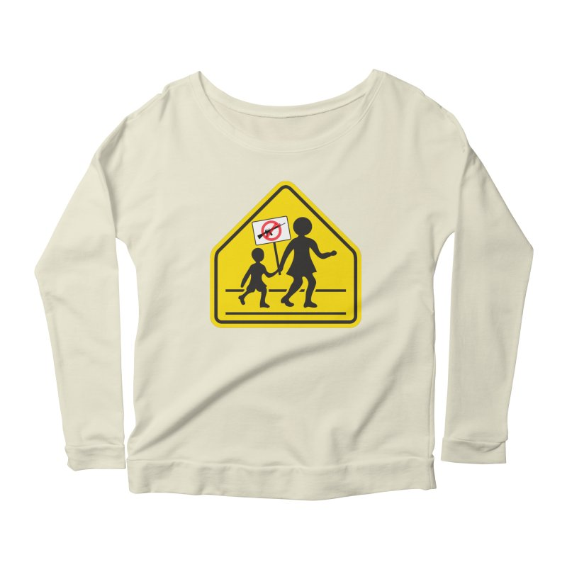 Children Crossing against Guns Women's Longsleeve Scoopneck  by Puttyhead's Artist Shop