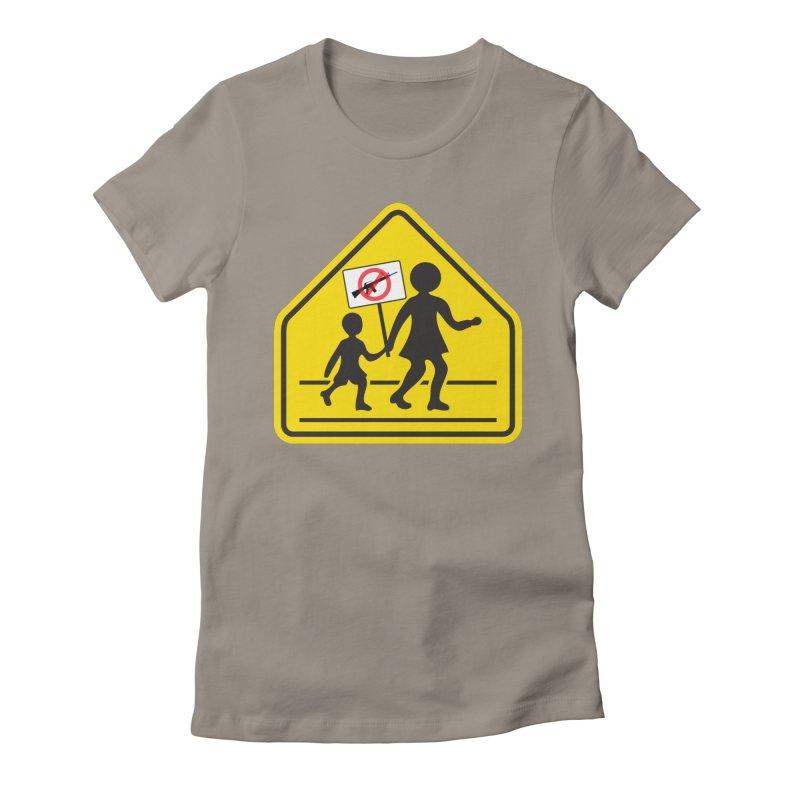 Children Crossing against Guns Women's Fitted T-Shirt by Puttyhead's Artist Shop