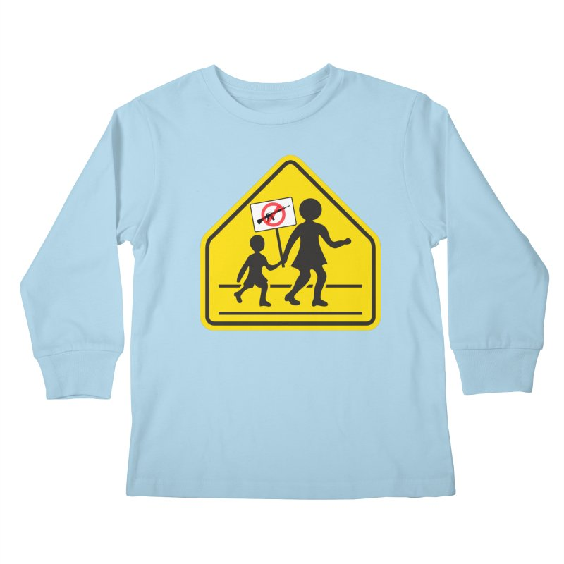 Children Crossing against Guns Kids Longsleeve T-Shirt by Puttyhead's Artist Shop