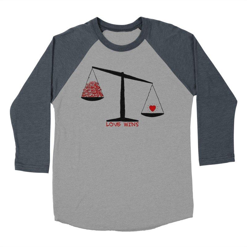 Love Wins Men's Baseball Triblend T-Shirt by Puttyhead's Artist Shop