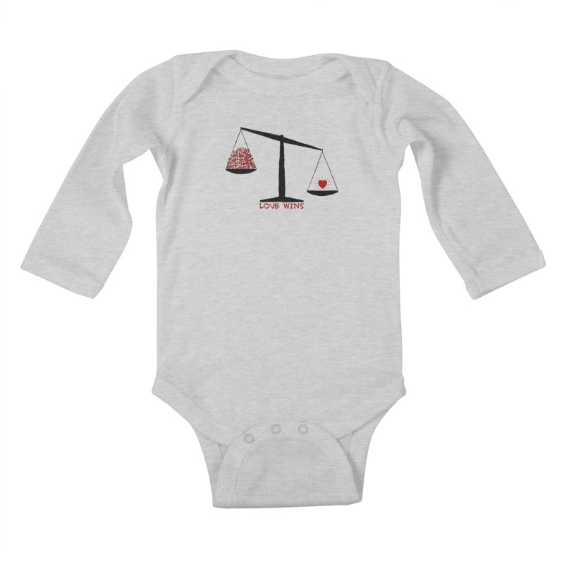 Love Wins Kids Baby Longsleeve Bodysuit by Puttyhead's Artist Shop