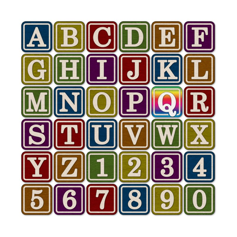 Alphabet Blocks (Q) Home Bath Mat by Puttyhead's Artist Shop