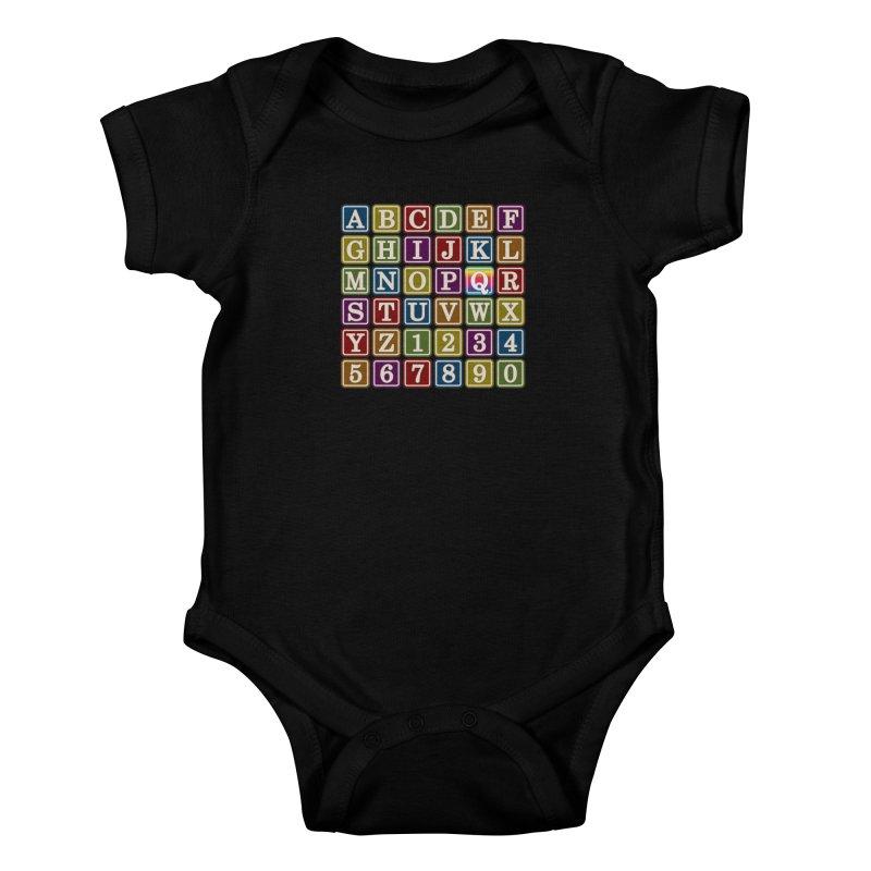 Alphabet Blocks (Q) Kids Baby Bodysuit by Puttyhead's Artist Shop