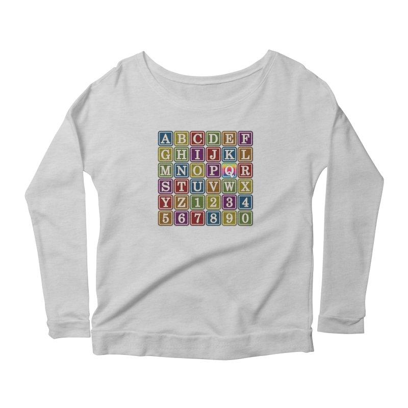 Alphabet Blocks (Q) Women's Longsleeve Scoopneck  by Puttyhead's Artist Shop