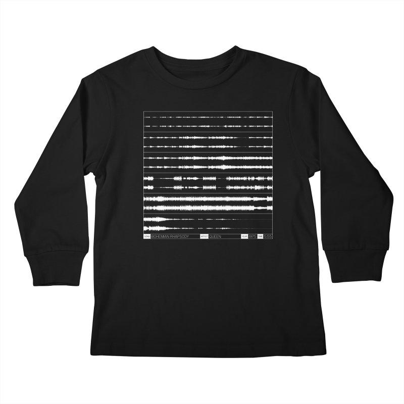 Bohemian Rhapsody (White) Kids Longsleeve T-Shirt by Puttyhead's Artist Shop