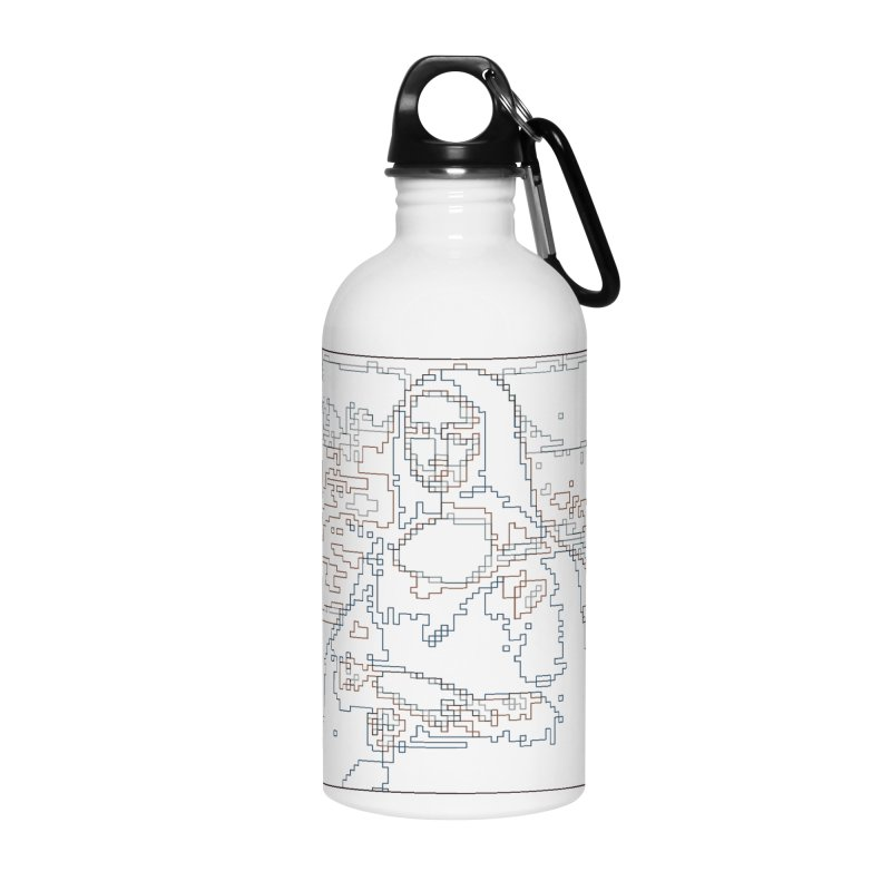 Mona Lisa Digital Lines Accessories Water Bottle by Puttyhead's Artist Shop