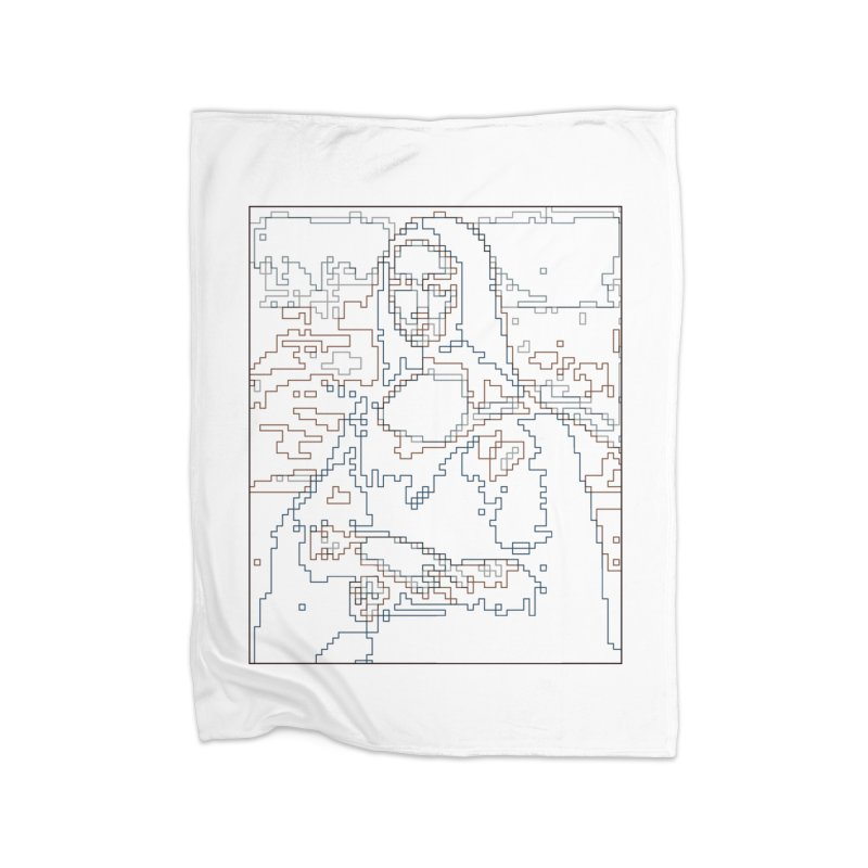 Mona Lisa Digital Lines Home Blanket by Puttyhead's Artist Shop