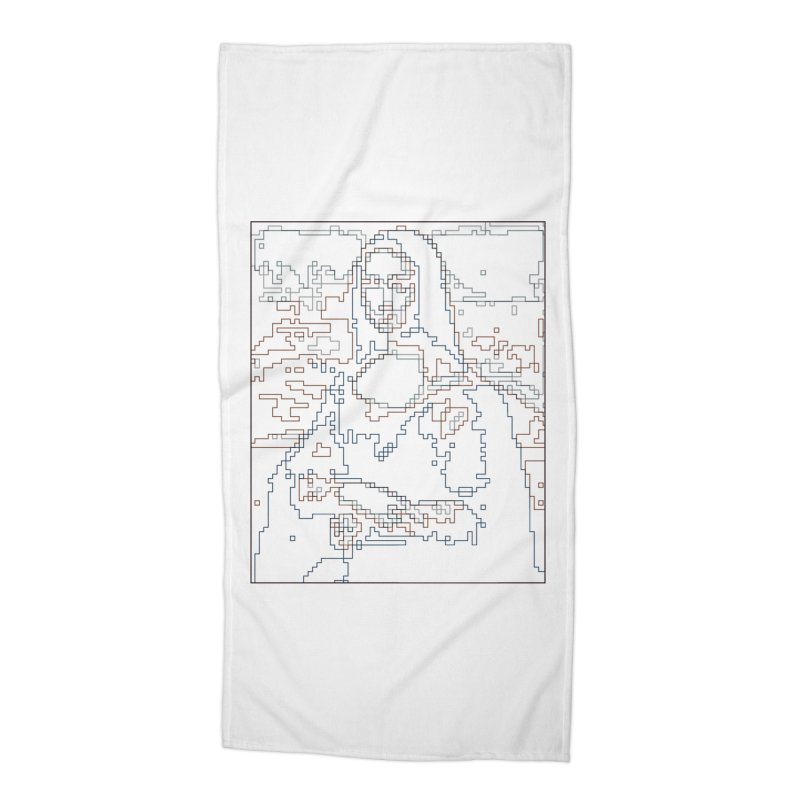 Mona Lisa Digital Lines Accessories Beach Towel by Puttyhead's Artist Shop