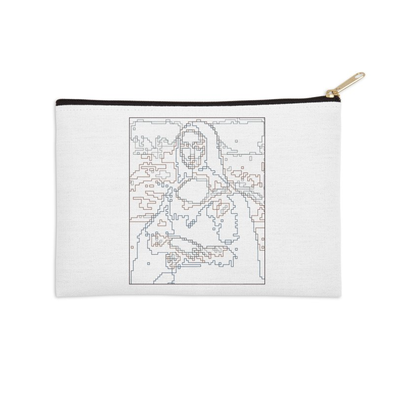 Mona Lisa Digital Lines Accessories Zip Pouch by Puttyhead's Artist Shop