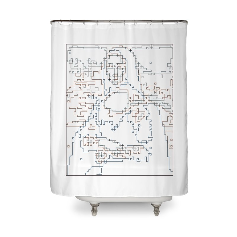 Mona Lisa Digital Lines Home Shower Curtain by Puttyhead's Artist Shop