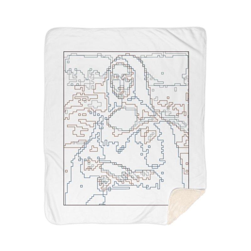 Mona Lisa Digital Lines Home Sherpa Blanket Blanket by Puttyhead's Artist Shop