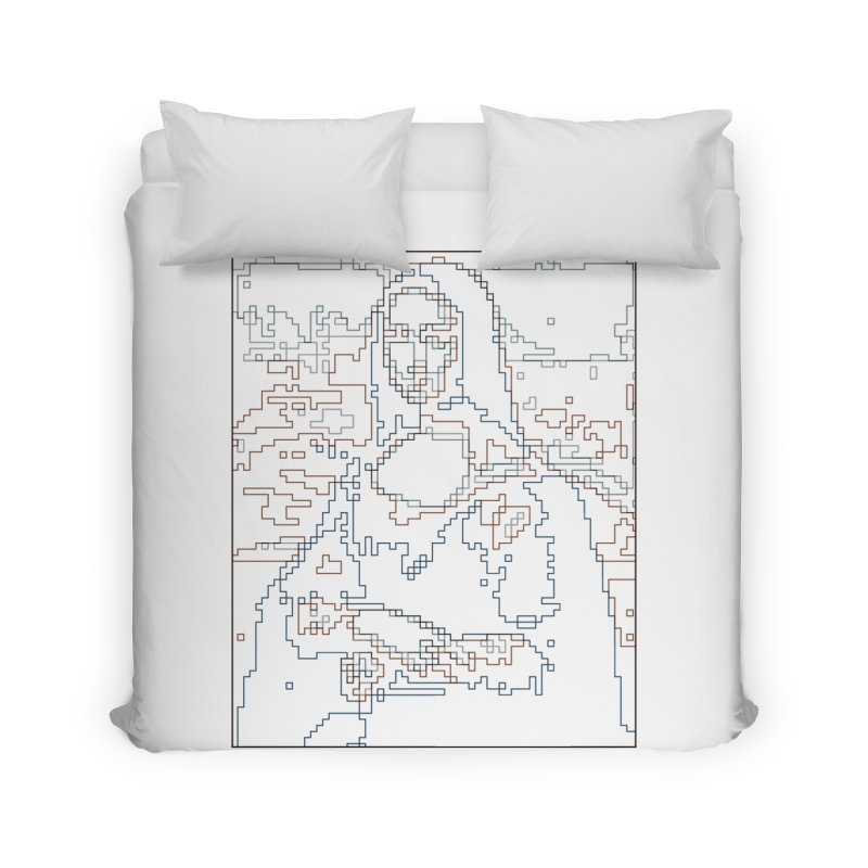 Mona Lisa Digital Lines Home Duvet by Puttyhead's Artist Shop