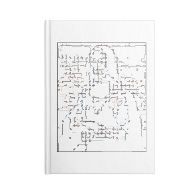 Mona Lisa Digital Lines Accessories Blank Journal Notebook by Puttyhead's Artist Shop
