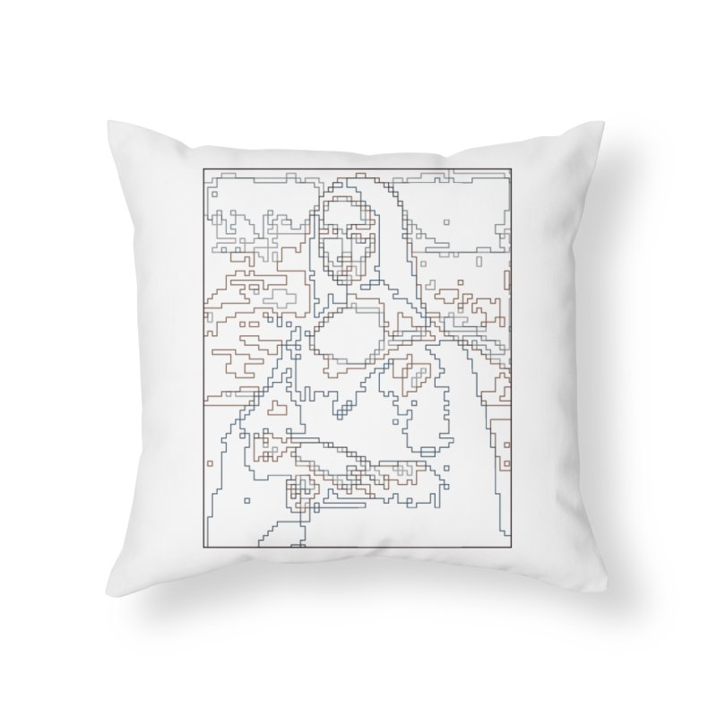 Mona Lisa Digital Lines Home Throw Pillow by Puttyhead's Artist Shop