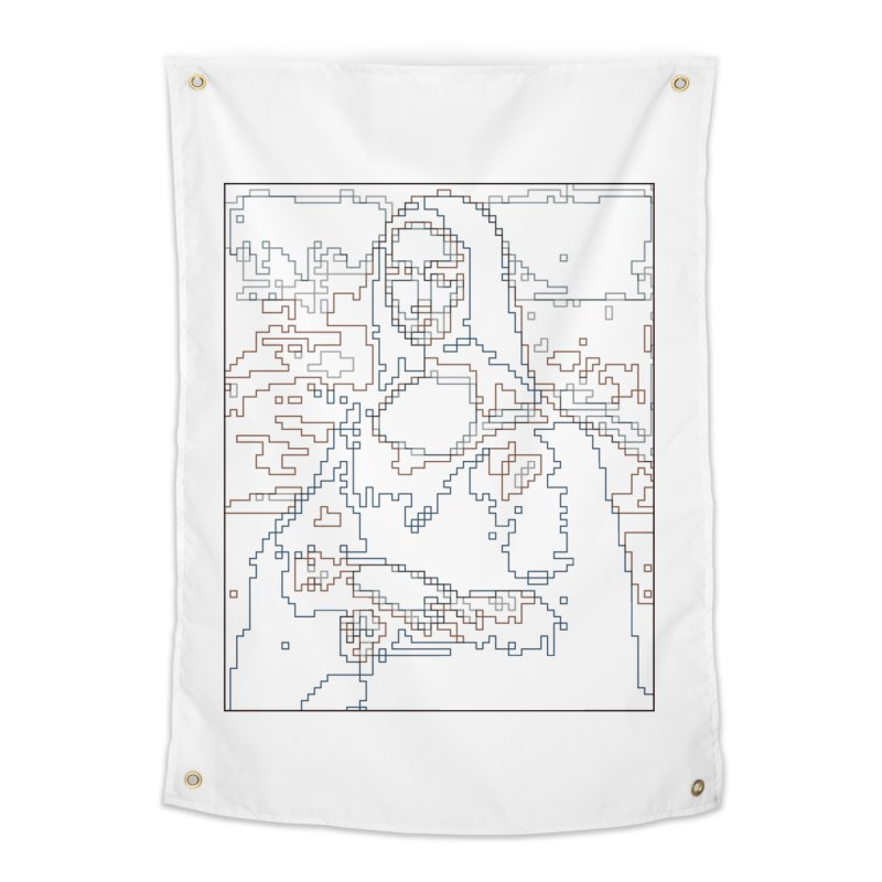 Mona Lisa Digital Lines Home Tapestry by Puttyhead's Artist Shop
