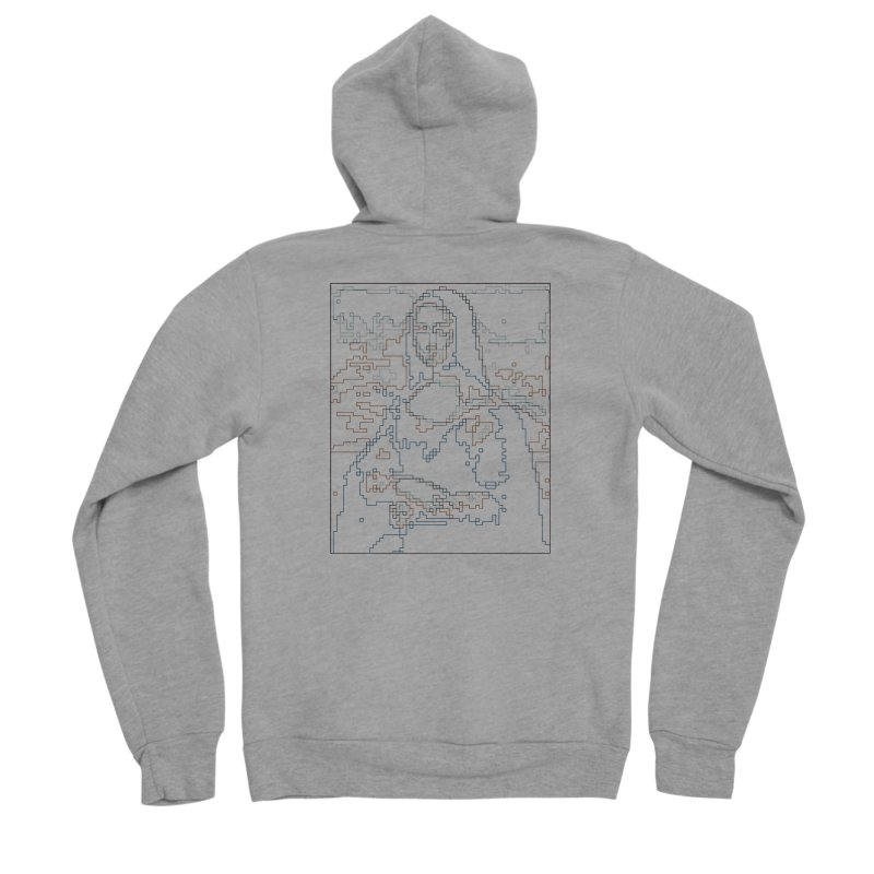 Mona Lisa Digital Lines Men's Sponge Fleece Zip-Up Hoody by Puttyhead's Artist Shop