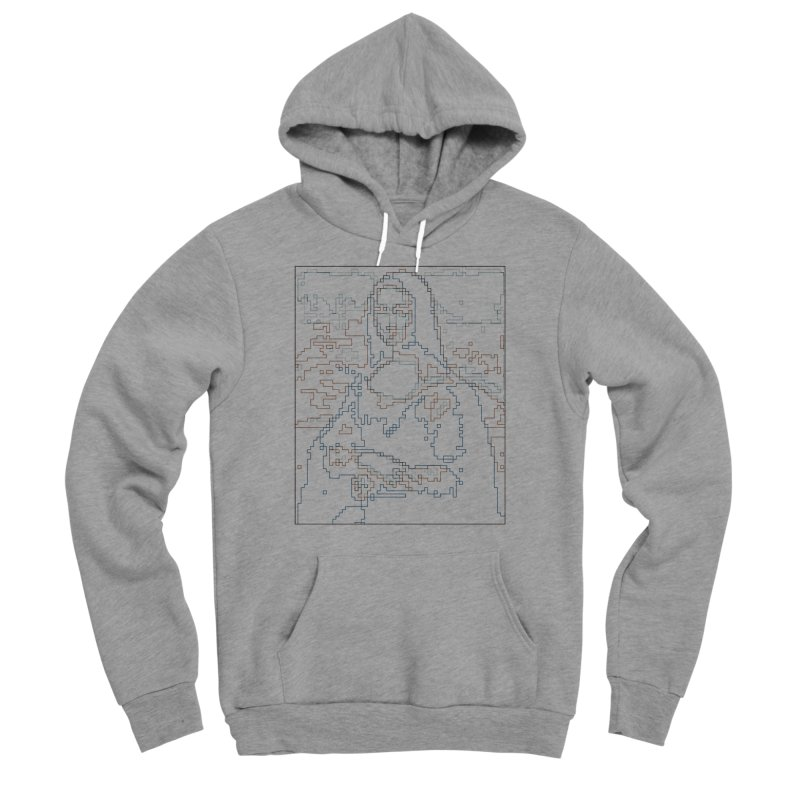 Mona Lisa Digital Lines Men's Sponge Fleece Pullover Hoody by Puttyhead's Artist Shop