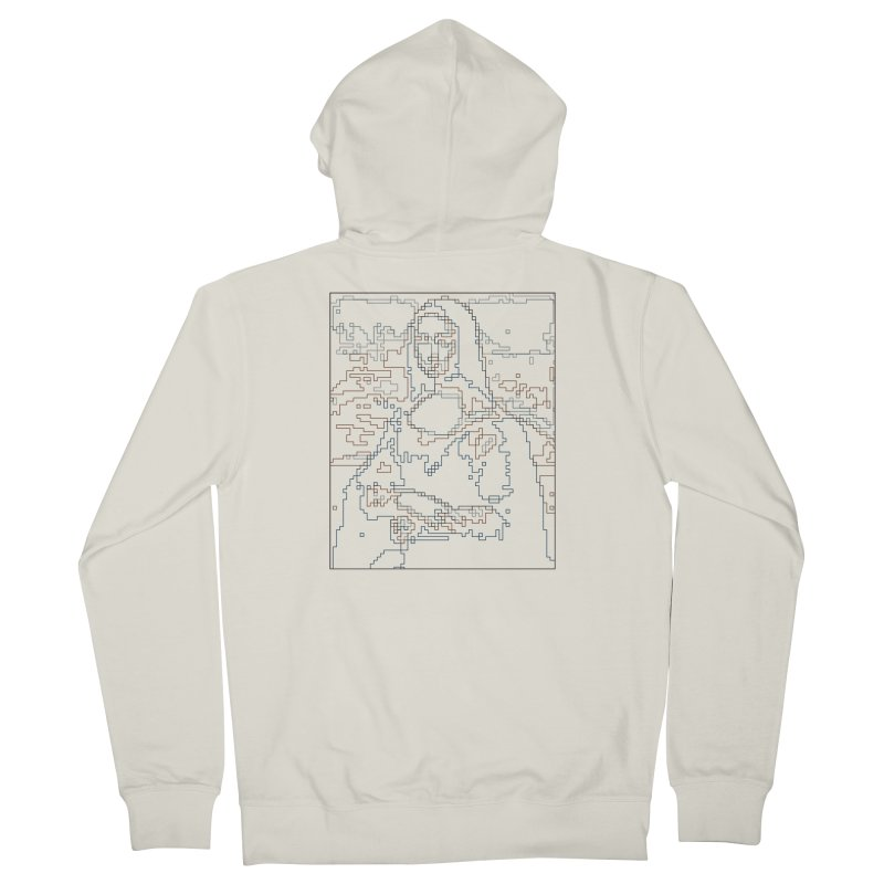 Mona Lisa Digital Lines Men's French Terry Zip-Up Hoody by Puttyhead's Artist Shop