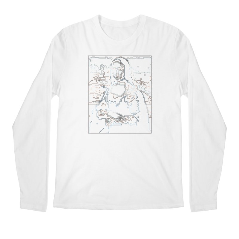 Mona Lisa Digital Lines Men's Regular Longsleeve T-Shirt by Puttyhead's Artist Shop