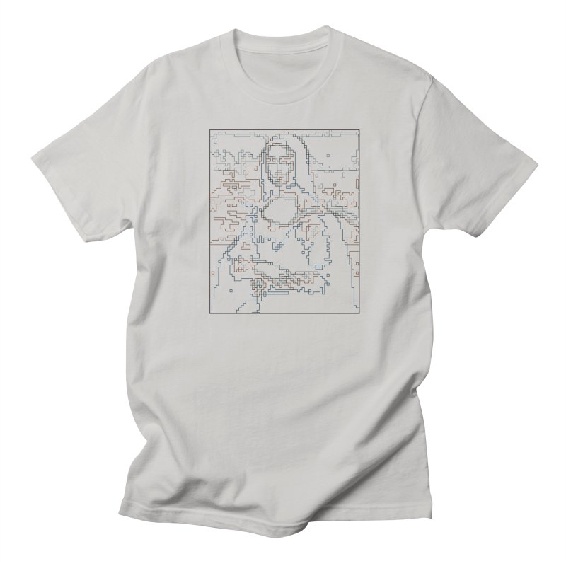 Mona Lisa Digital Lines Men's Regular T-Shirt by Puttyhead's Artist Shop