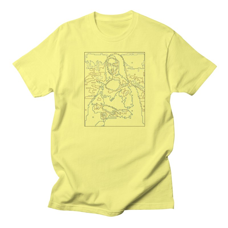 Mona Lisa Digital Lines Women's Regular Unisex T-Shirt by Puttyhead's Artist Shop