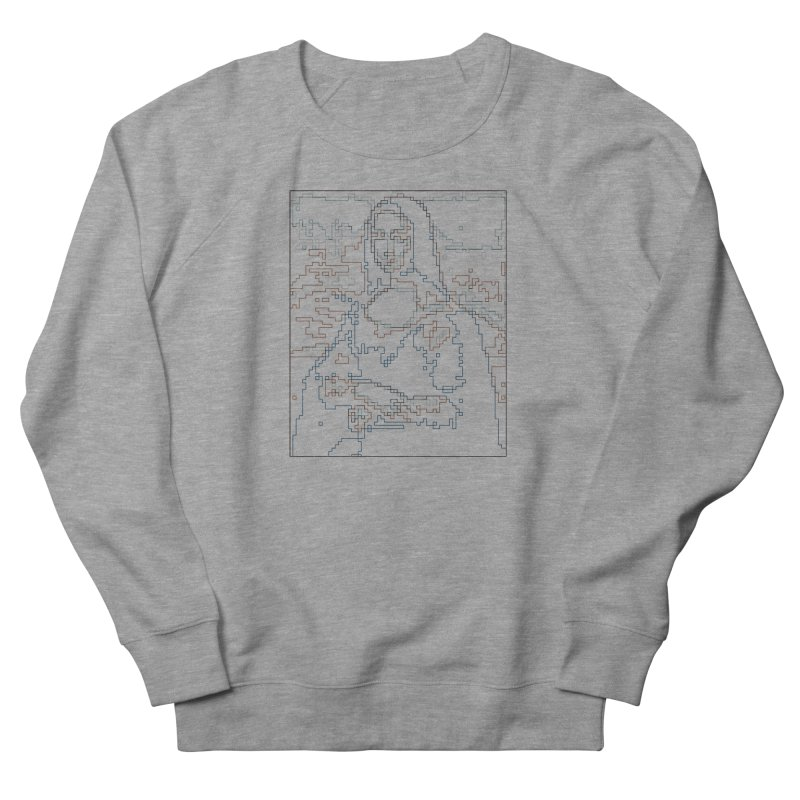 Mona Lisa Digital Lines Men's French Terry Sweatshirt by Puttyhead's Artist Shop