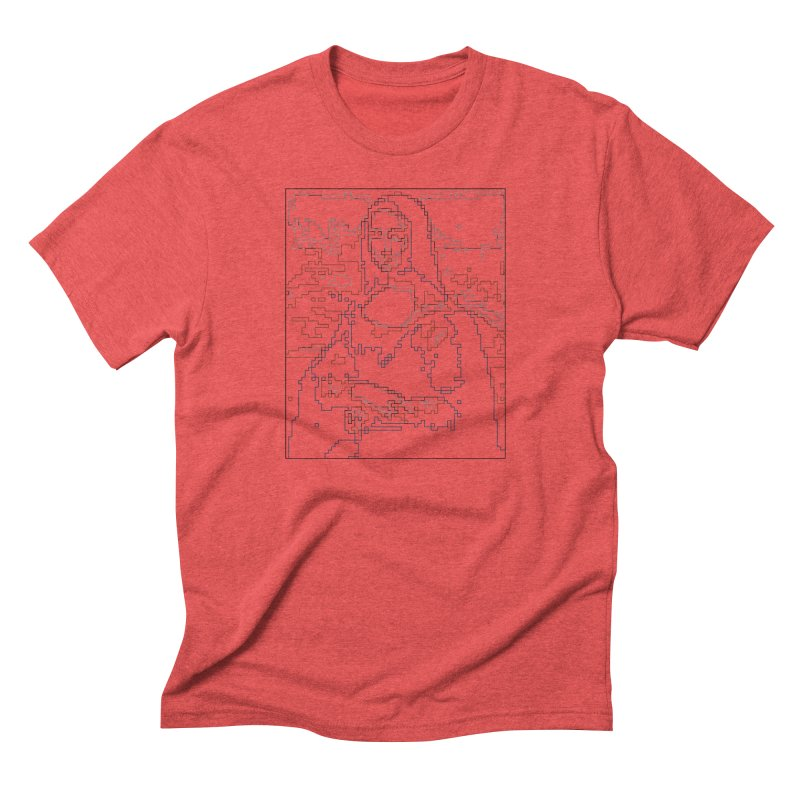 Mona Lisa Digital Lines Men's Triblend T-Shirt by Puttyhead's Artist Shop
