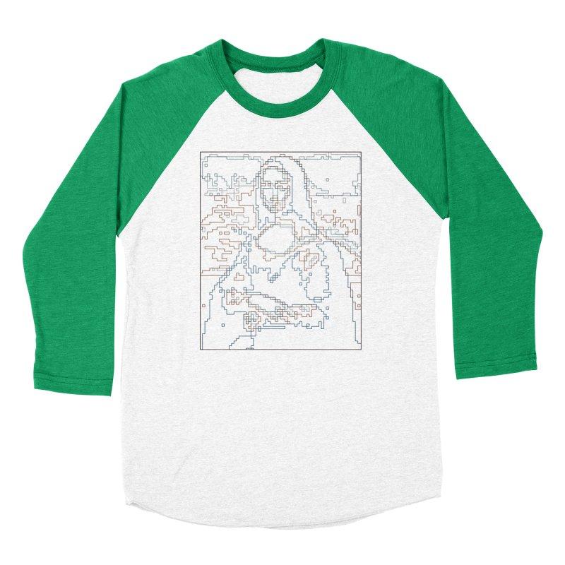 Mona Lisa Digital Lines Women's Baseball Triblend Longsleeve T-Shirt by Puttyhead's Artist Shop