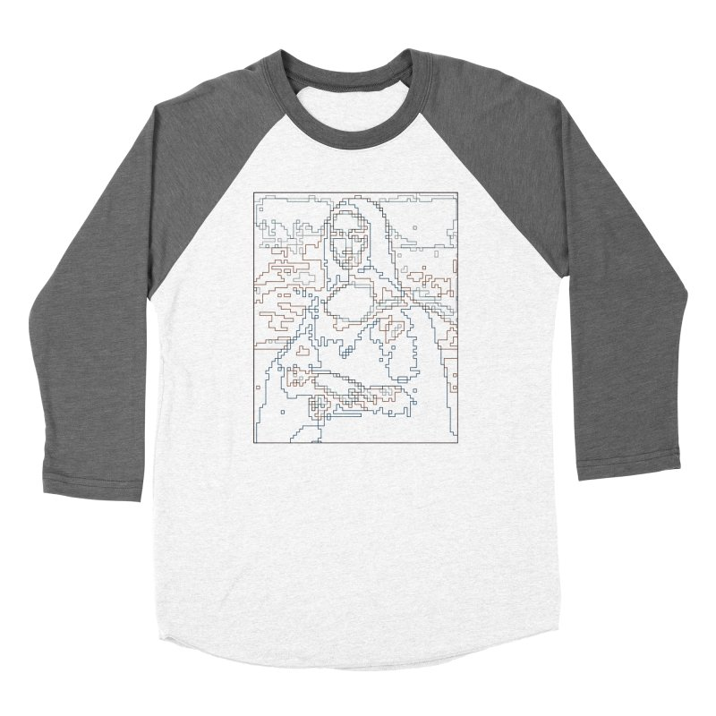 Mona Lisa Digital Lines Men's Baseball Triblend Longsleeve T-Shirt by Puttyhead's Artist Shop