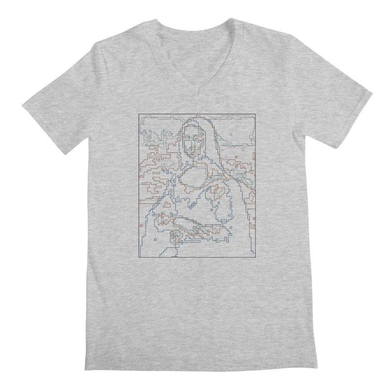 Mona Lisa Digital Lines Men's Regular V-Neck by Puttyhead's Artist Shop