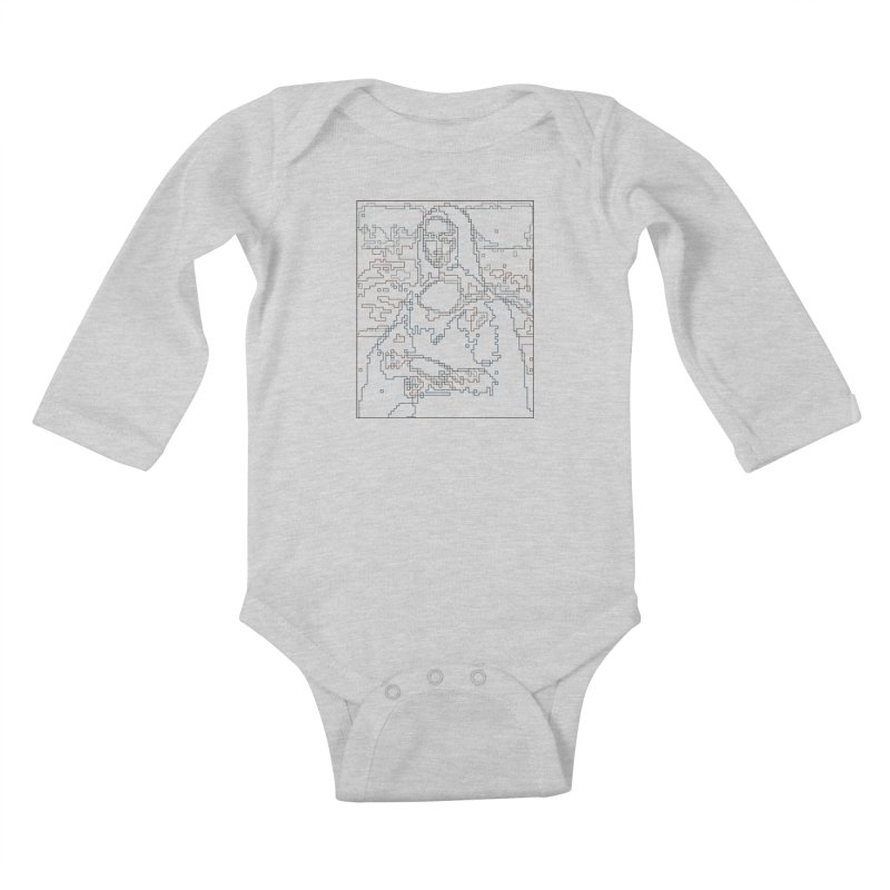 Mona Lisa Digital Lines Kids Baby Longsleeve Bodysuit by Puttyhead's Artist Shop