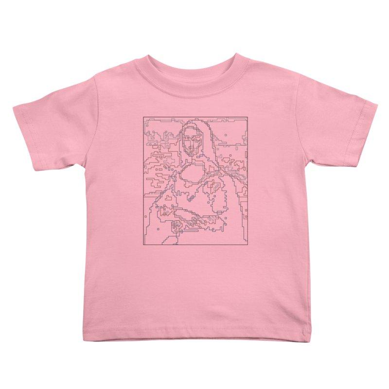 Mona Lisa Digital Lines Kids Toddler T-Shirt by Puttyhead's Artist Shop