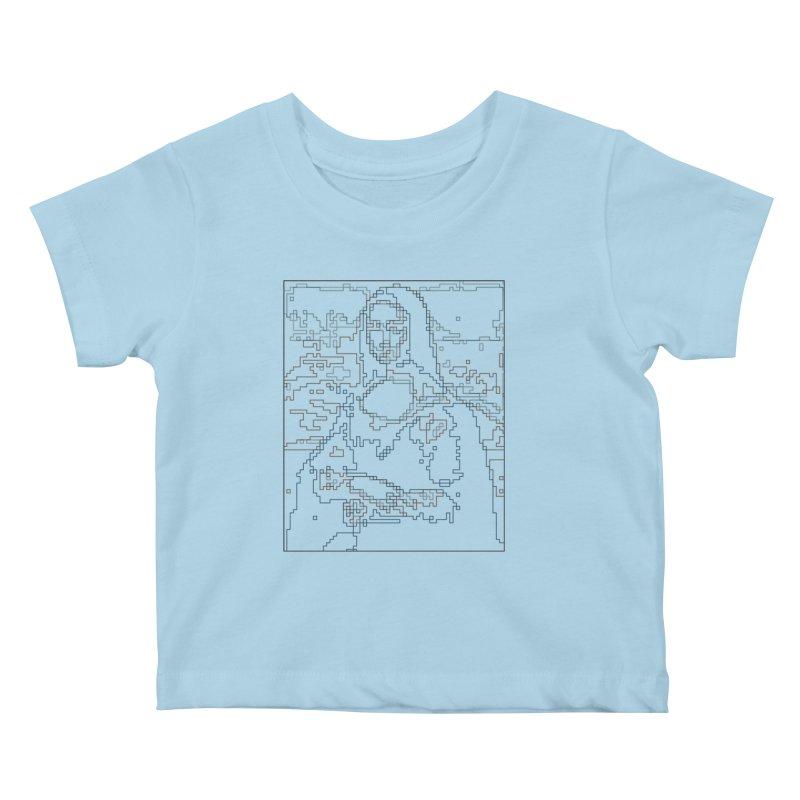 Mona Lisa Digital Lines Kids Baby T-Shirt by Puttyhead's Artist Shop