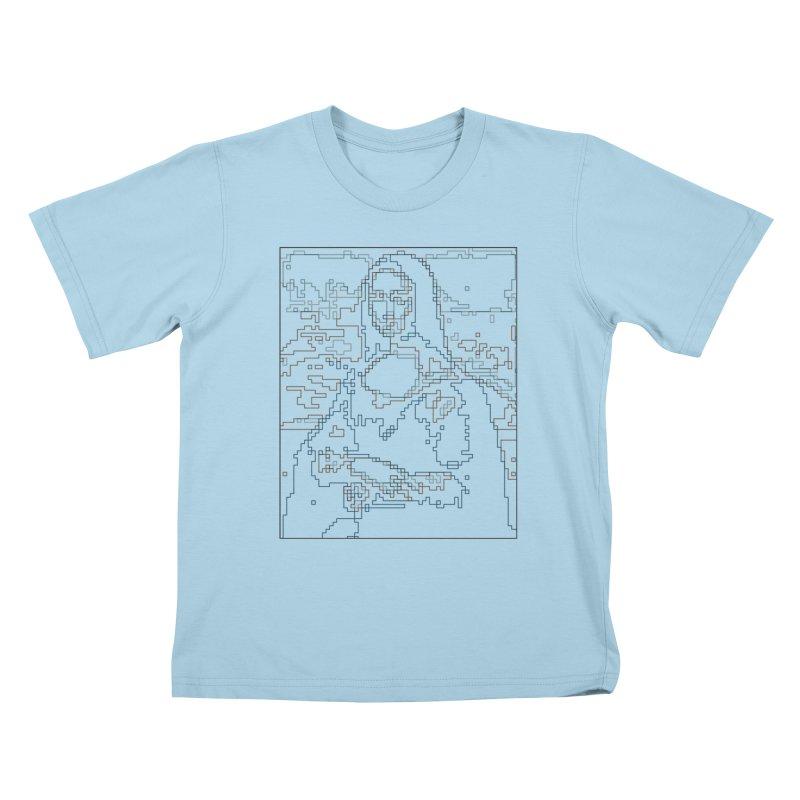 Mona Lisa Digital Lines Kids T-Shirt by Puttyhead's Artist Shop