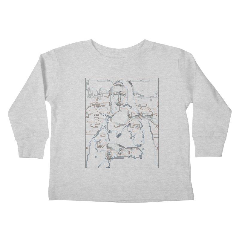 Mona Lisa Digital Lines Kids Toddler Longsleeve T-Shirt by Puttyhead's Artist Shop