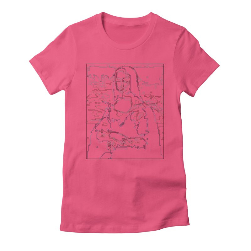 Mona Lisa Digital Lines Women's Fitted T-Shirt by Puttyhead's Artist Shop