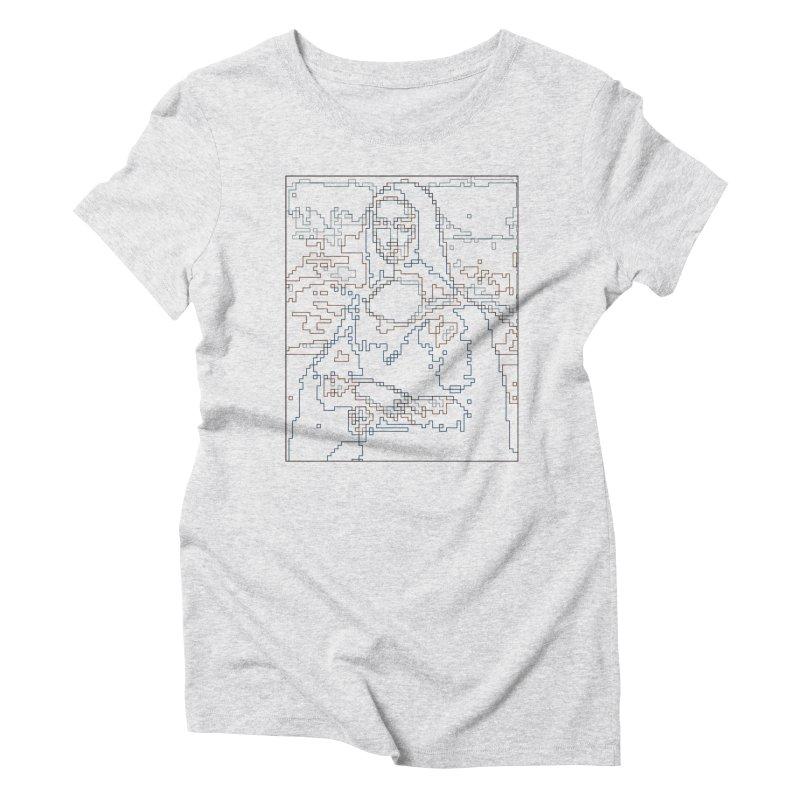 Mona Lisa Digital Lines Women's Triblend T-Shirt by Puttyhead's Artist Shop