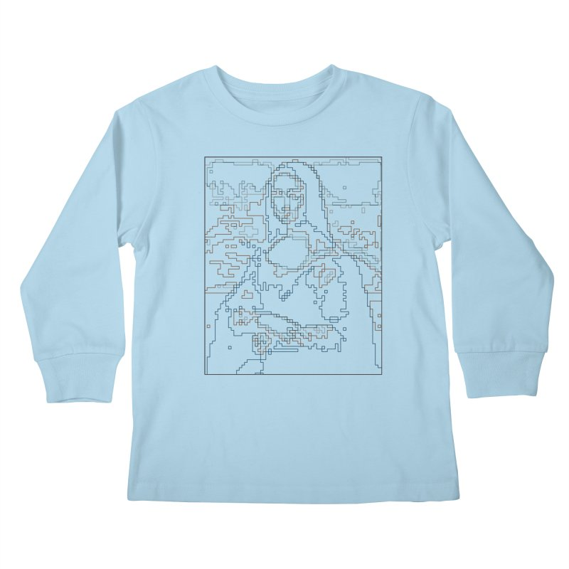 Mona Lisa Digital Lines Kids Longsleeve T-Shirt by Puttyhead's Artist Shop
